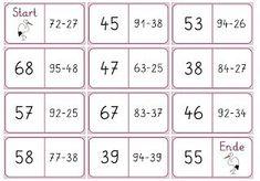 Lernstübchen: Minus mit Übergang Math 2, Kindergarten Math Worksheets, Math Subtraction, Multiplication, Math Board Games, Lottery Numbers, Math School, Math Addition, Second Grade Math