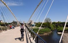 In Salem, Oregon, a new winged bridge, the Peter Courtney Minto Island Bicycle and Pedestrian Bridge, spans a Willamette River slough where salmon spawn and connects to Minto-Brown Island. The bridge is open weekends only through July, but will be open permanently on Aug. 2.  (Bill Thorness)