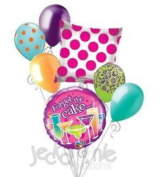 7 pc Forget the Cake Cocktails Happy Birthday Balloon Bouquet Party Decoration