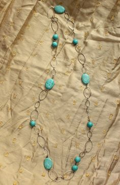Vintage Beach Hippie Boho Turquoise Colored Bead and Oval Link Necklace