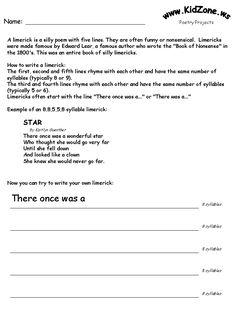 Unit 2 Week 5 poetry projects printable activity pages