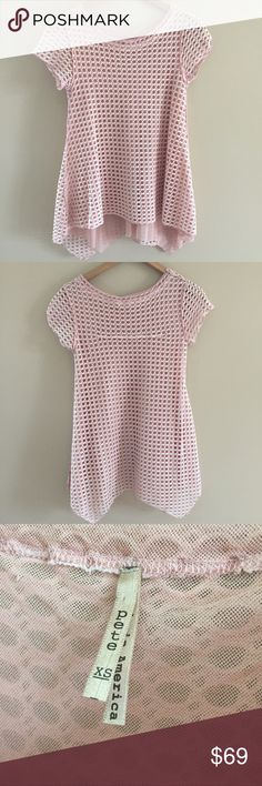 Pete anthropologie open weave layered pink top XS Super cute uneven hem double layer mesh and like a fishnet crochet overlay looks like was never worn.  Cute with ripped jeans.  XS no trades or low offers. Made in USA bought at anthropologie pete Tops Tees - Short Sleeve