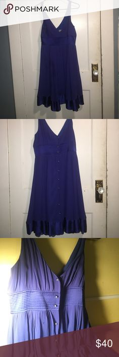 Anthropoligie dress Royal blue dress with plunging v neckline. Gold buttons down back. Small barely noticeable snag in the back. Light stain on the front. Anthropologie Dresses Midi