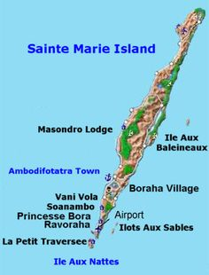 Island of Sainte Marie map - St Marie Madagascar Country Maps, Island Tour, Countries, Africa, Places, Travel, Maps, World Countries, Madagascar