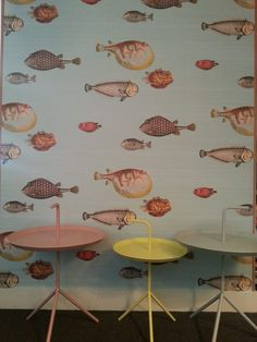 Fornasetti's wallpaper 'Acquario' from Cole & Son at www.annavanschilfgaarde.nl