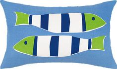Smaller Nautical Fish Pillow 12x20
