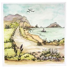 This is the gorgeous new 'Coastal Walks' set designed by Sharon Bennett for Hobby Art. This stunning set is great for building small or large scenes by varying the stamps used. Clear set contains 17 stamps. This stunning card was made by Elaine Parker