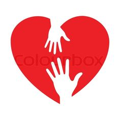 Heart icon with caring hands, vector logo   Vector   Colourbox