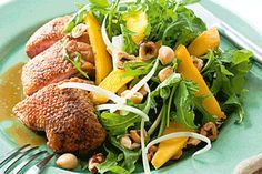 Crispy-skin duck, wild rocket and orange salad
