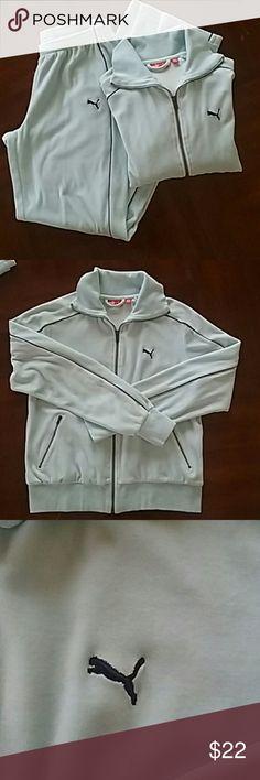 Velvet Puma track suit set Very comfortable,soft light blue velvet track suit set. Size small. Great condition. Puma Jackets & Coats Utility Jackets