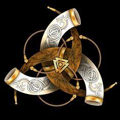 Shop Odin's Triple Horns viking t-shirts designed by NaumaddicArts as well as other viking merchandise at TeePublic. Viking Life, Viking Art, Wiccan, Pagan, Vikings, Norse Tattoo, Asatru, Viking Symbols, Irish Celtic