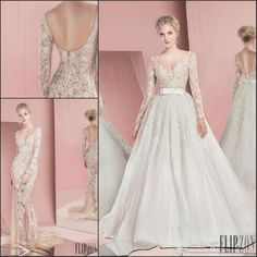 Wedding Dresses Under 500 Newset 2016 Spring Zuhair Murad Bridal Gown Sexy See Through Long Sleeves Backless Removeable Skirt Wedding Dresses With Detachable Train Designer Gowns From Ufind, $201.05| Dhgate.Com