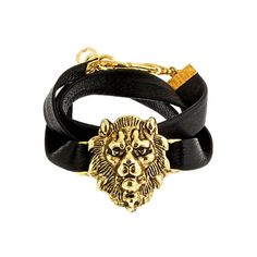 Alexandra Beth Gold Lion Leather Bracelet ($115) ❤ liked on Polyvore