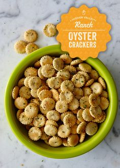 94 Wonderful Hidden Valley Oyster Crackers Recipe, Oyster Cracker Snack Mix Recipes Cdkitchen, Ranch Oyster Crackers Cincyshopper, Seasoned Ranch Cheese Crackers, Grandma Dow S Oyster Cracker Snacks. Yummy Snacks, Healthy Snacks, Yummy Food, Healthy Crackers, Eating Healthy, Appetizer Recipes, Snack Recipes, Cooking Recipes, Party Appetizers