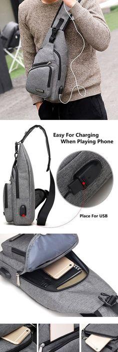 $19.32 Oxford Casual Women Men Chest Bag, USB Place Sling Bag,Cross-body Bag, Shoulder Bag For Men