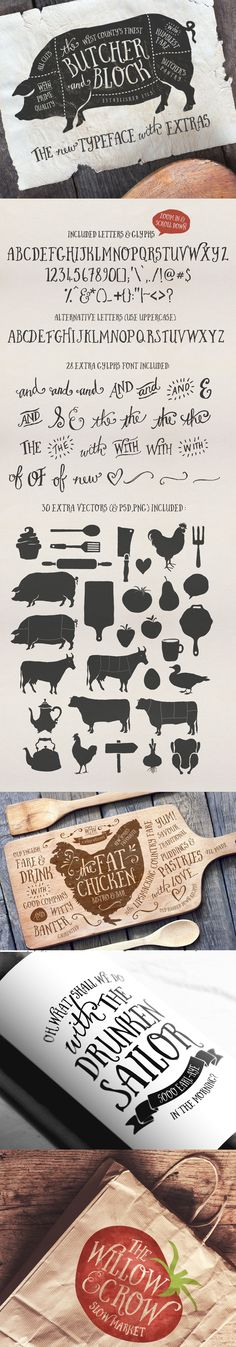 Butcher and Block font + Extras by Nicky Laatz, via Behance. For Tommy Typography Fonts, Typography Design, Branding Design, Logo Design, Block Fonts, Beautiful Fonts, Chalkboard Art, Illustrations, Cool Fonts