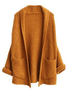 WANT..so cosy for this winter Khaki Open Front Cardigan With Oversized Pocket | Choies