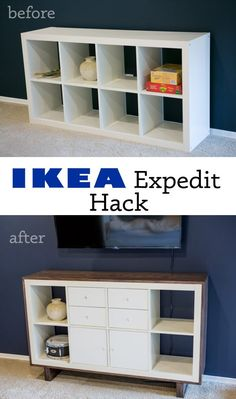 Hayley and I have been working on redoing our new home since we moved in four ye. - Ikea DIY - The best IKEA hacks all in one place Mydal Ikea, Ikea Kallax Hack, Ikea Shelf Hack, Ikea Bookshelf Hack, Ikea Hack Bathroom, Tv Stand Hack, Ikea Tv Stand, Crate Tv Stand, Tv Stand Makeover