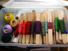 Organizing embroidery floss.