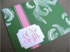 set of 10 personalized folded note cards  preppy by misspokadot, $12.00