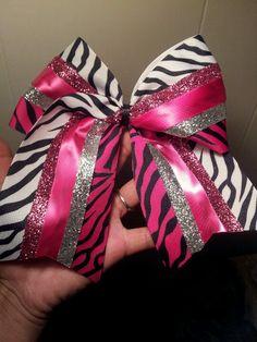 pink zebra/zebra/glitter cheer bow