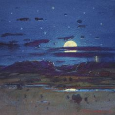 Tom Perkinson Early Work | Night Storm - New Mexico Landscape Art Painting by Tom Perkinson
