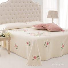 piquet di cotone disegnato per copriletto fiori matrimoniale