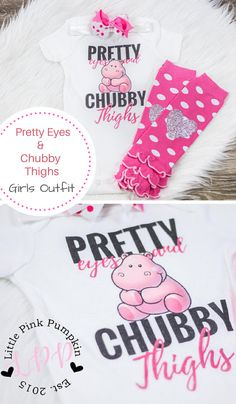 Adorable Baby Girl Clothes, Pretty Eyes Chubby Thighs, pink polka dot leg warmers. Funny and cute gift idea for baby girls shower present. #babygirls #oufits #ad