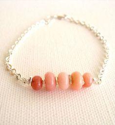 Pink Opal Bracelet Sterling Silver