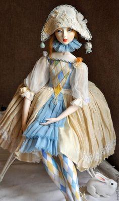 Купить Коломбина - комбинированный, коломбина, коллекционная кукла, кукла ручной…