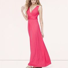 B2G1 LOFT Pink V-Neck Maxi dress Beautiful maxi dress with ruching under the bust. Worn twice and in like new condition. Washed cold and hang dried. Perfectly bright and cheerful color for spring and summer! LOFT Dresses Maxi