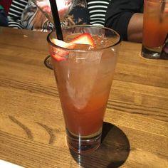 Strawberry Henny (Hennessy, Grand Marinier, fresh strawberry, lime juice, lemon juice, and pure cane sugar) BANGIN!!!!!