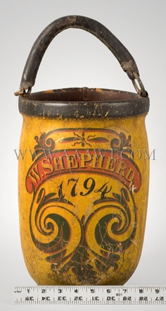 SHARED BY RALEIGH DeGEER AMYX - CIRCA 1794 - STUNNING 18TH CENTURY PIECE - Leather Fire Bucket, W. Shepherd, circa 1794