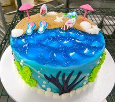Beach cake! My Cake Decorating Magazine mycakedecorating.com Beach Themed Cakes, Beach Cakes, Cupcakes, Cupcake Cakes, Gorgeous Cakes, Amazing Cakes, Cake Decorating Magazine, Ocean Cakes, Nautical Cake