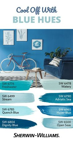 Is the summer heat making you sweat? It's time to cool off with some gorgeous Sherwin-Williams blue hues, like Freshwater SW 6774 and Open Seas SW Click through to find more blues and color details! Source by SherwinWilliams Look blue Blue Paint Colors, Room Paint Colors, Interior Paint Colors, Paint Colors For Home, Bedroom Colors, Colours, Sea Blue Color, Coastal Colors, Sherwin William Paint