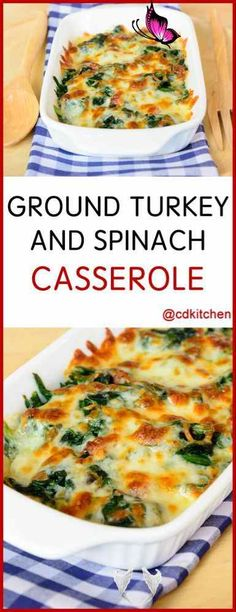 Ground Turkey And Spinach Casserole Recipe | CDKitchen.com Ground Turkey And Spinach Casserole - The lean meat and healthy spinach help balance out the rich sauce and cheese in this decadent casserole. | CDKitchen.com<br> Quick Ground Turkey Recipes, Healthy Turkey Recipes, Recipes With Ground Chicken, Lean Meat Recipes, Turkey Burger Recipes, Ground Turkey And Vegetables Recipe, Healthy Recipes With Spinach, Crockpot Ground Turkey Recipes, Ground Beef And Spinach