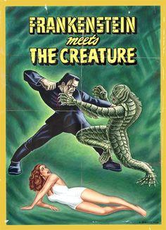 Frankenstein meets the creature poster Sci Fi Horror Movies, Classic Horror Movies, Horror Movie Posters, Cinema Posters, Art Posters, Horror Art, Horror Monsters, Scary Monsters, Famous Monsters