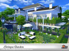 Sirinya Garden by autaki at TSR via Sims 4 Updates Sims 4 Loft, Sims 4 Anime, Sims 4 House Plans, The Sims 4 Lots, Sims 4 House Design, Casas The Sims 4, Sims Building, Minecraft House Designs, Sims Four