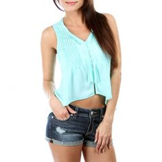 Pleated Cropped Button Front Tank