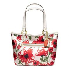 Coach Poppy Floral Print Small Tote ($178) ❤ liked on Polyvore