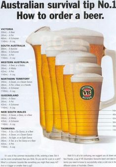 """Australian survival tip How to order a beer in all 7 states""… Australia Living, South Australia, Western Australia, Australia Travel, Australia Facts, Brisbane, Melbourne, Sydney, Australian Beer"
