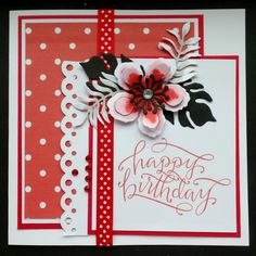 S038 - Hand Made Birthday Card using Stampin Up Botanical Blooms dies