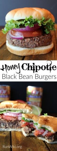 The very best meatless burger I have ever had. Try this Honey Chipolte Black Bean Burger at your next party or BBQ. Replace the honey with agave to make it vegan. Great main dish or weeknight dinner idea. Can be made ahead and stored in the fridge or free Best Food For Runners, Runners Food, Superfood Recipes, Vegetarian Recipes, Healthy Recipes, Healthy Meals, Healthy Food, Yummy Food, Vegetarian Cooking