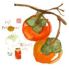 Persimmon chutney watercolor painting, Kitchen print, Food art, Orange fruit poster