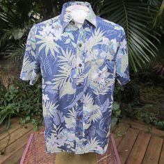 HAWAIIAN Aloha SHIRT L pit to pit 24 CARIBBEAN JOE cotton tropical foliage flora #SeeDescription #Hawaiian
