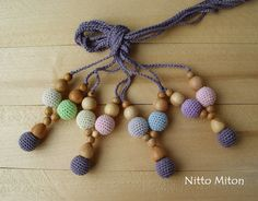 Nursing necklace multicolor Crocet Wooden beads & by NittoMiton