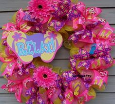 9e2062e57 Flip Flop Beach Wreath Flip Flop Wreath Summer Beach Wreath Tropical Wreath  Key West Wreath Beach De