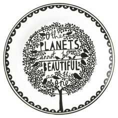 (via Blue Other Planets Enamel Plate, Rob Ryan) Ceramic Decor, Ceramic Plates, Decorative Plates, Rob Ryan, Plate Sets, Plates On Wall, Plate Wall, Four Seasons, Home Gifts
