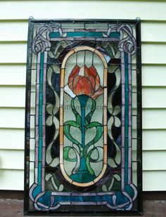 20 X 34 Home Decor Lg Tiffany Style Stained Gl Window Panel Rose
