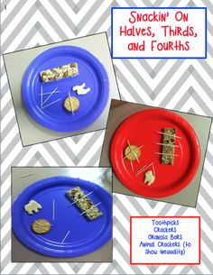 Snackin on Fraction Shapes! Fun and hands-on way to practice partitioning shapes into halves, thirds, and fourths.
